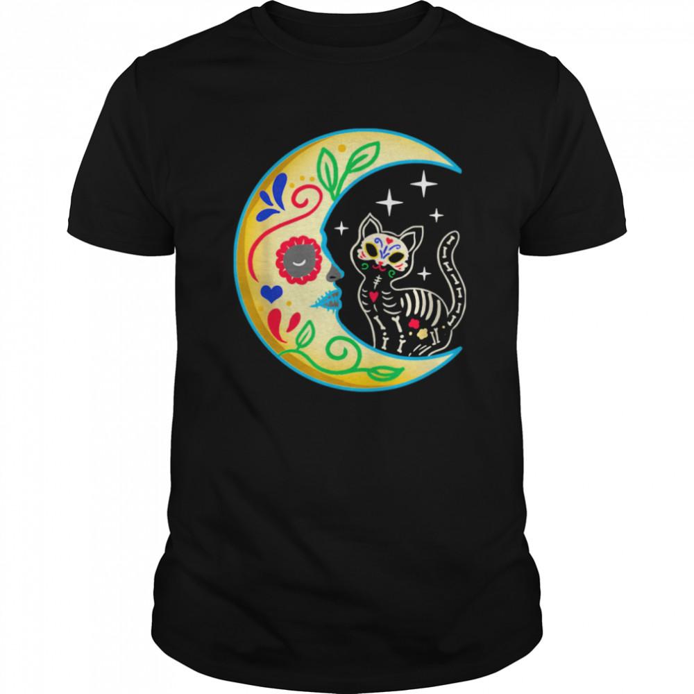Cat Amp Moon Sugar Skull Dia De Los Muertos  Classic Men's T-shirt