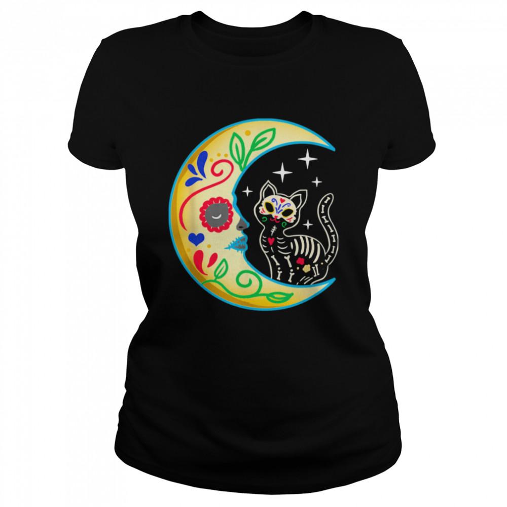 Cat Amp Moon Sugar Skull Dia De Los Muertos  Classic Women's T-shirt