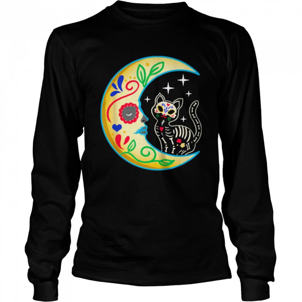 Cat Amp Moon Sugar Skull Dia De Los Muertos  Long Sleeved T-shirt
