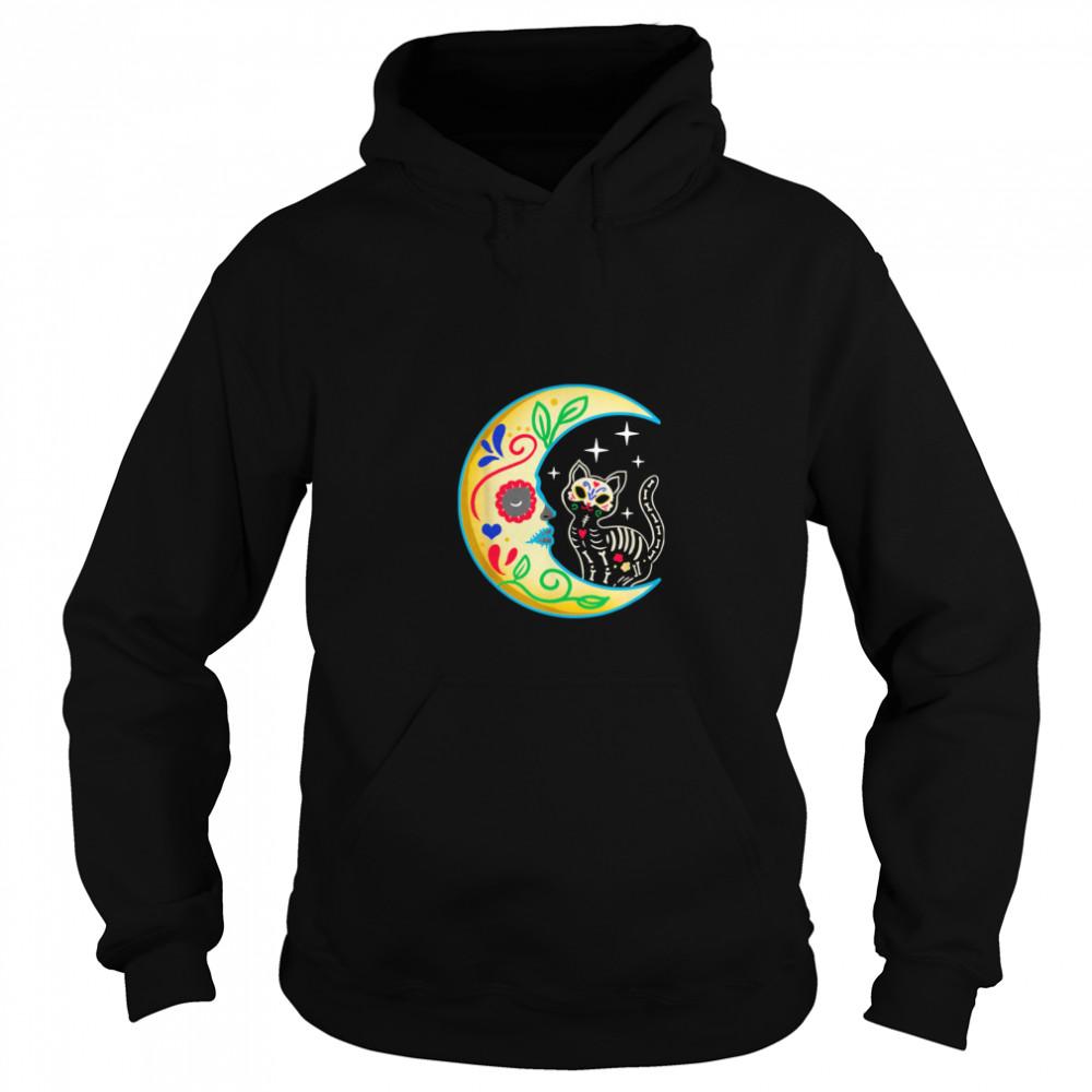 Cat Amp Moon Sugar Skull Dia De Los Muertos  Unisex Hoodie