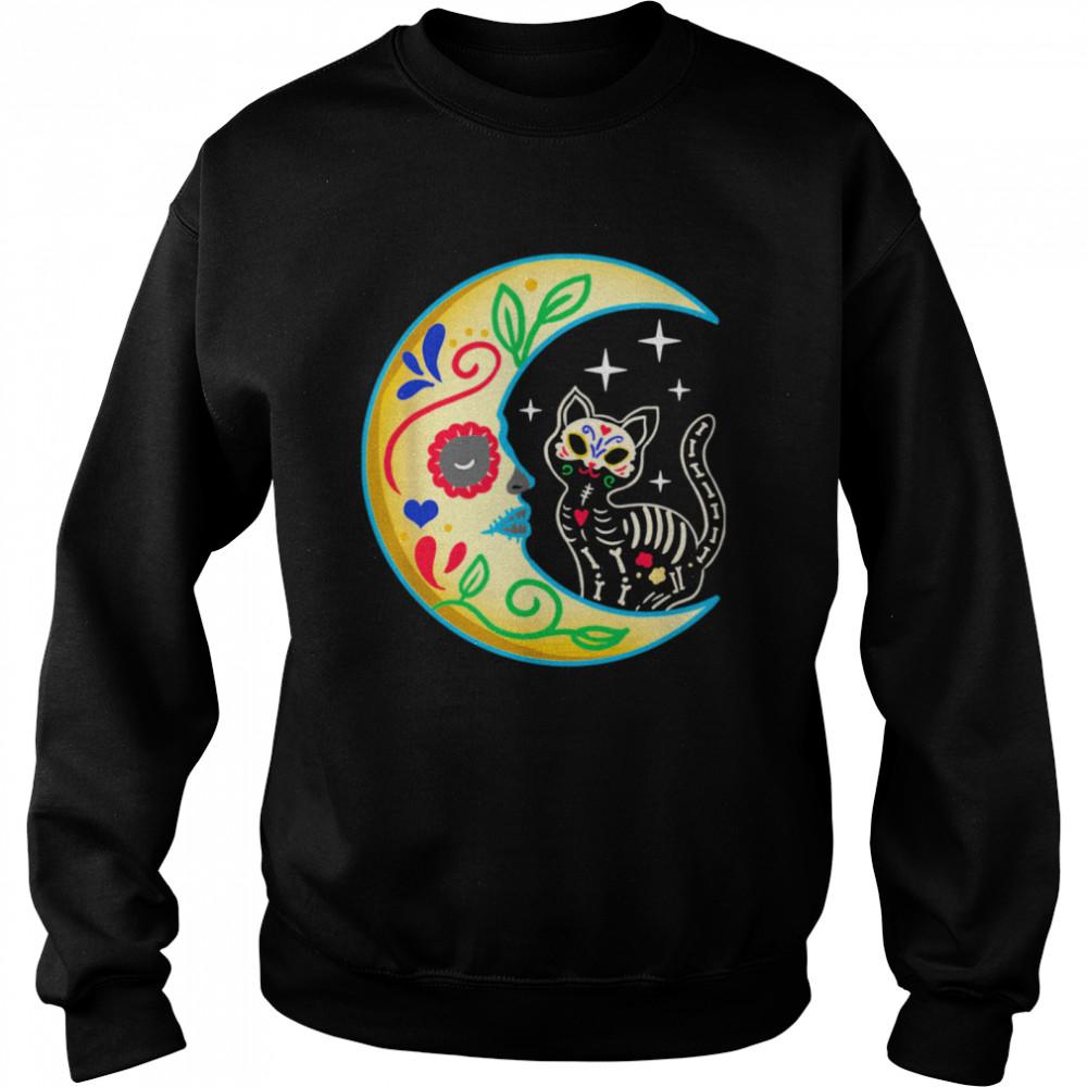 Cat Amp Moon Sugar Skull Dia De Los Muertos  Unisex Sweatshirt