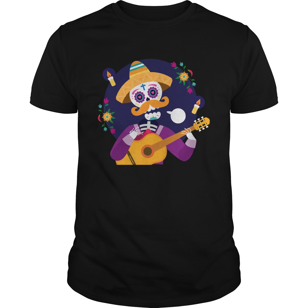 Dia De Muertos Day Of Dead Sugar Skeleton Play Guitar  Unisex