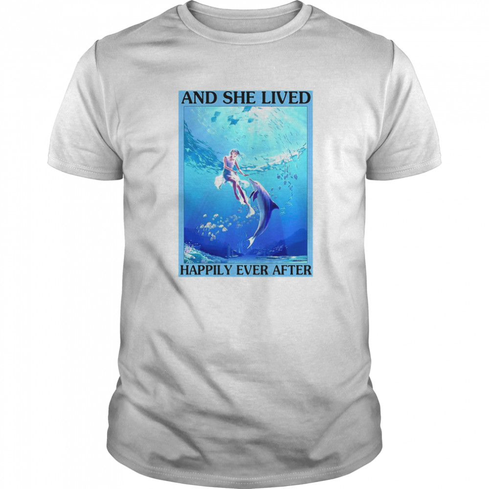 Dolphin And She Lived Happily Ever After Poster Vertical Poster  Classic Men's T-shirt