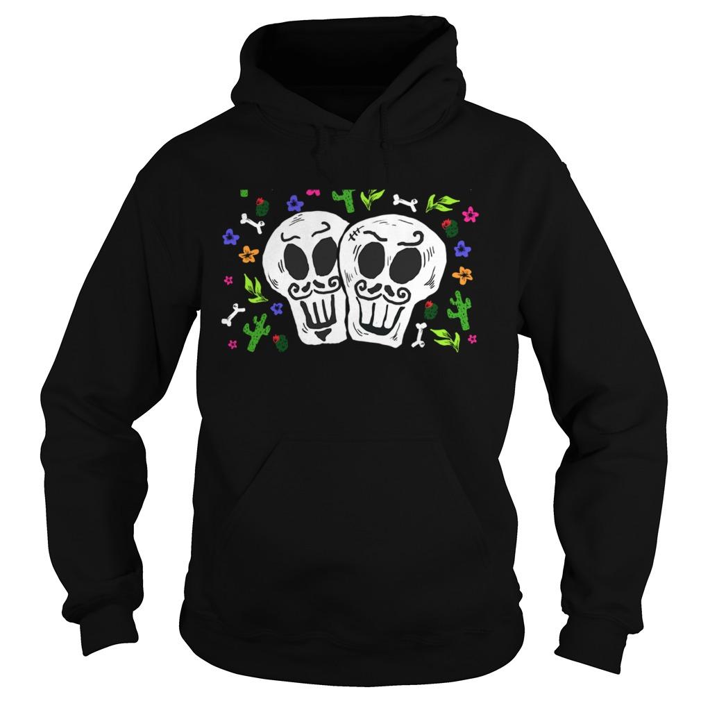 Double Skulls Day Of The Dead Dia De Muertos Mexican  Hoodie