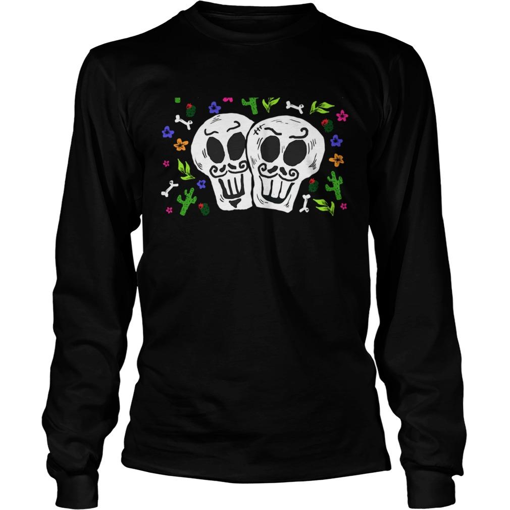 Double Skulls Day Of The Dead Dia De Muertos Mexican  Long Sleeve