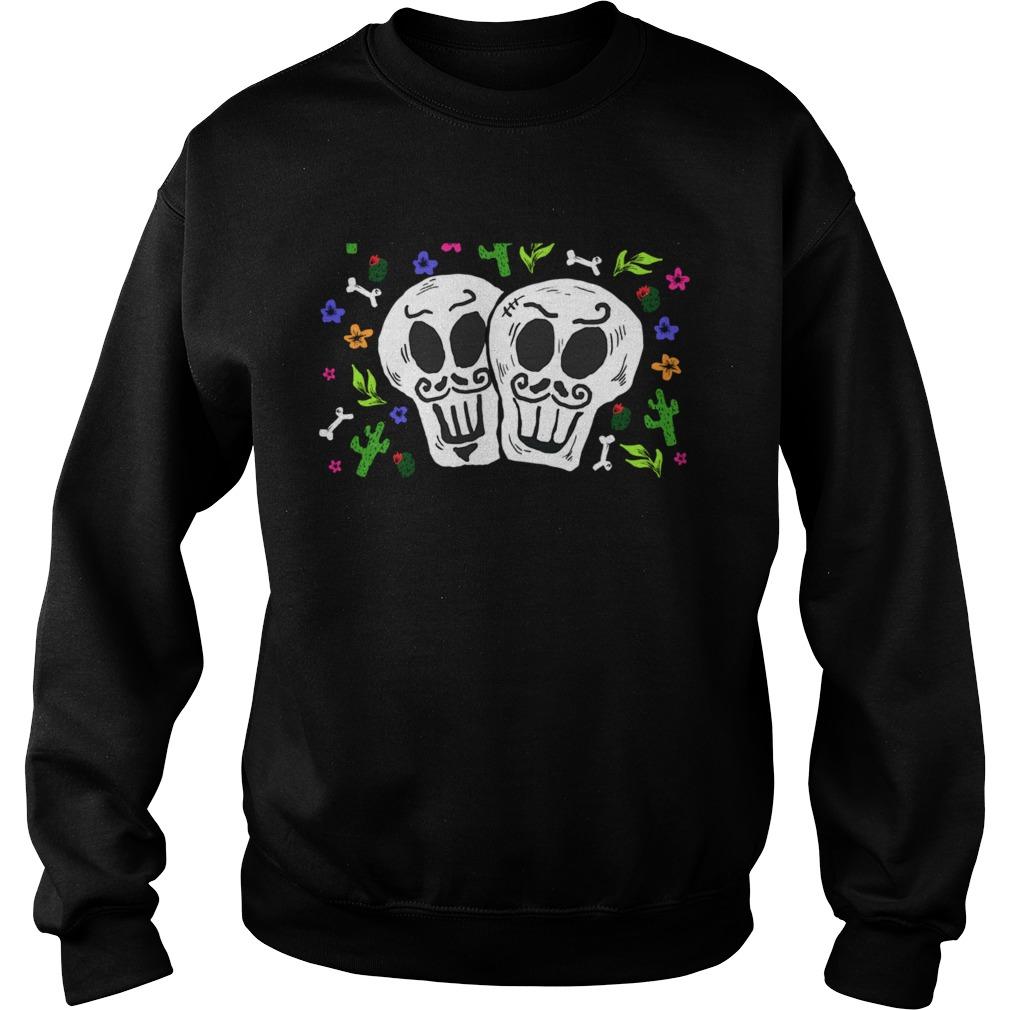 Double Skulls Day Of The Dead Dia De Muertos Mexican  Sweatshirt
