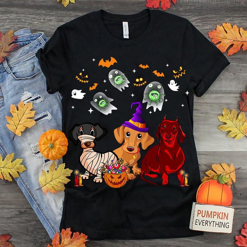 Funny Three Dachshunds Halloween Unisex Shirt