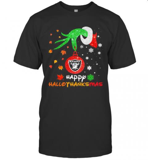 Grinch Holding Las Vegas Raiders Logo Happy Hallothanksmas Halloween Thanksgiving Christmas T-Shirt Classic Men's T-shirt