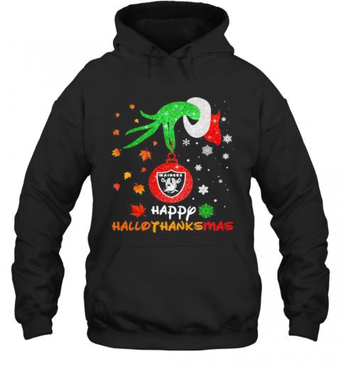 Grinch Holding Las Vegas Raiders Logo Happy Hallothanksmas Halloween Thanksgiving Christmas T-Shirt Unisex Hoodie