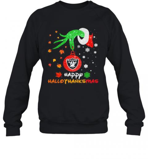 Grinch Holding Las Vegas Raiders Logo Happy Hallothanksmas Halloween Thanksgiving Christmas T-Shirt Unisex Sweatshirt