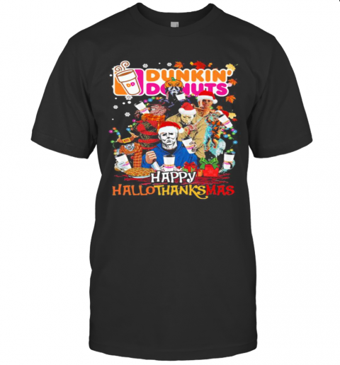 Halloween Horror Characters Dunkin Donuts Happy Hallothanksmas Halloween Thanksgiving Christmas T-Shirt Classic Men's T-shirt