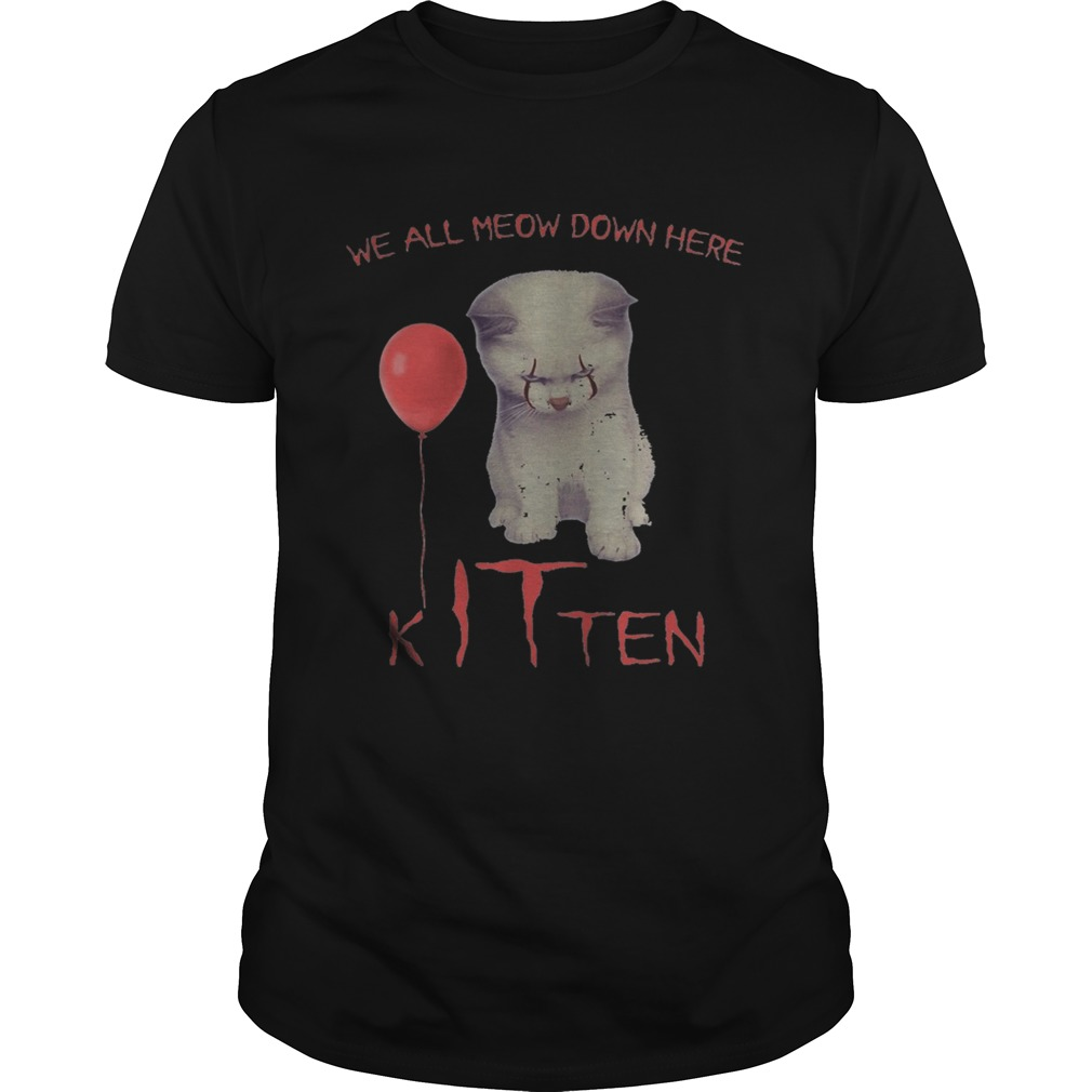 Halloween pennywise cat all meow down here kitten  Unisex