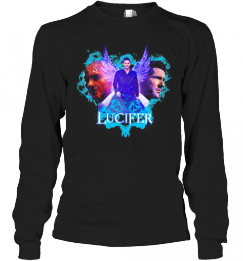 Lucifer Tom Ellis Wings Actors Movie T-Shirt Long Sleeved T-shirt
