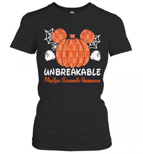 Mickey Mouse Pumpkin Unbreakable Multiple Sclerosis Awareness T-Shirt Classic Women's T-shirt