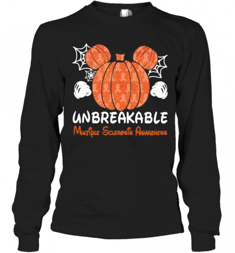 Mickey Mouse Pumpkin Unbreakable Multiple Sclerosis Awareness T-Shirt Long Sleeved T-shirt