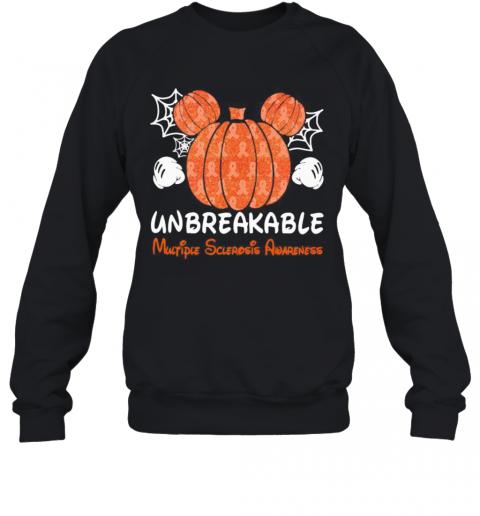 Mickey Mouse Pumpkin Unbreakable Multiple Sclerosis Awareness T-Shirt Unisex Sweatshirt