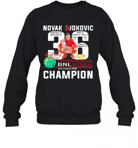 Novak Djokovic 36 Internazionali Bnl D Italia 2020 Champion Signature T Shirt Tentenshirts