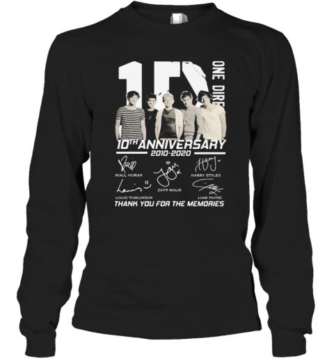 One Direction 10Th Anniversary 2010 2020 Thank For The Memories Signatures T-Shirt Long Sleeved T-shirt