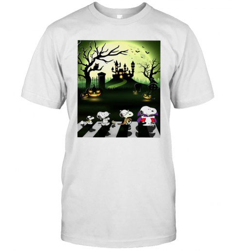 Snoopy Abbey Road Halloween Moon T-Shirt Classic Men's T-shirt