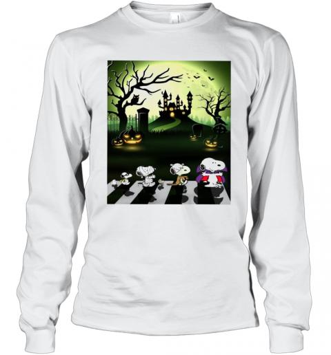 Snoopy Abbey Road Halloween Moon T-Shirt Long Sleeved T-shirt
