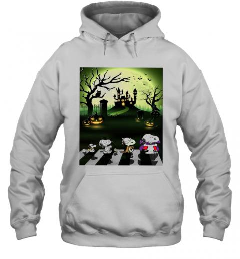 Snoopy Abbey Road Halloween Moon T-Shirt Unisex Hoodie
