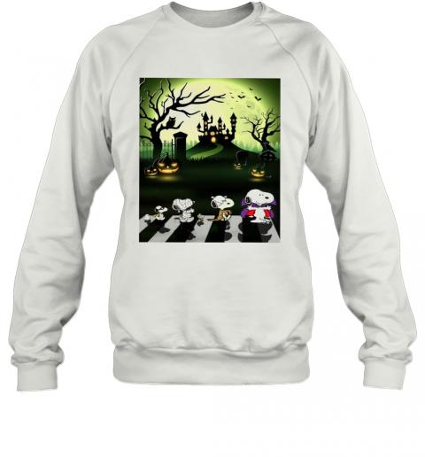 Snoopy Abbey Road Halloween Moon T-Shirt Unisex Sweatshirt