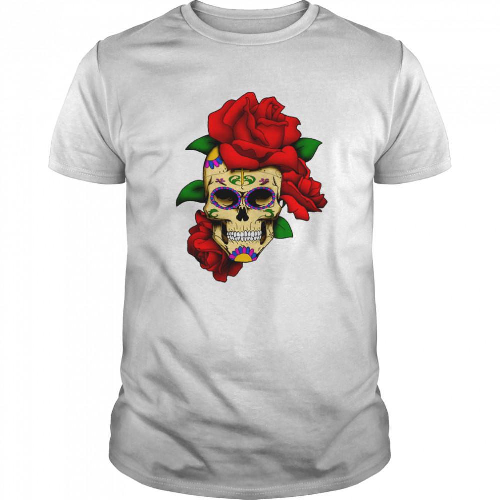Sugar Skull With Rose Day Of The Dead Dia De Muertos  Classic Men's T-shirt