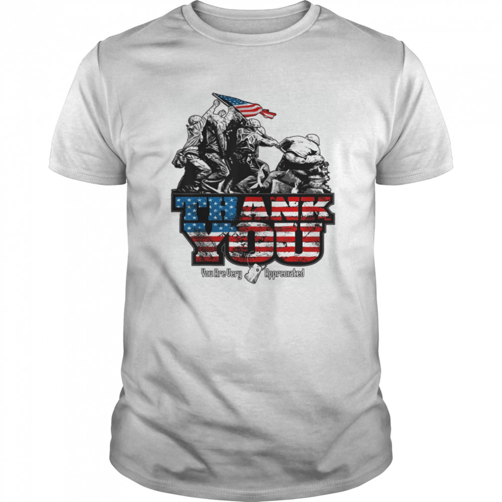 Thank You Veterans you are very appreciated American flag  Classic Men's T-shirt