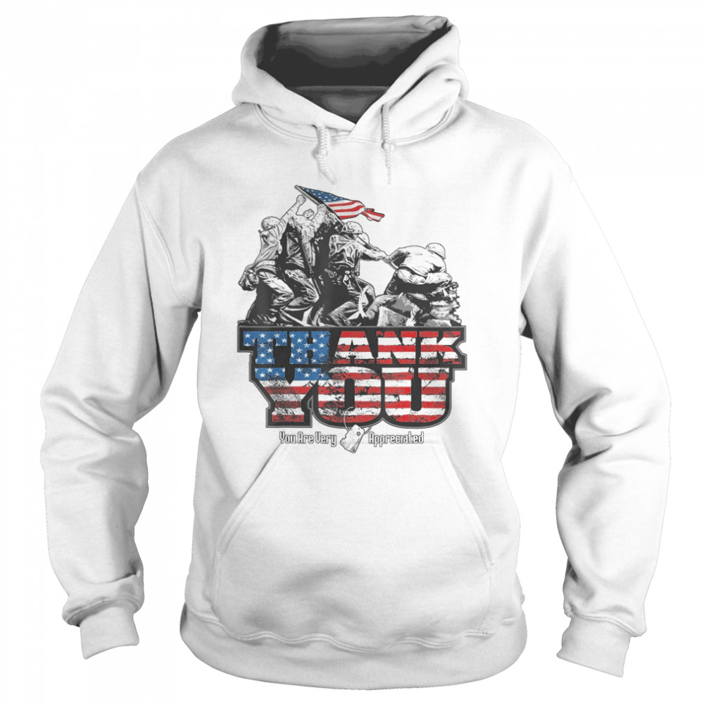 Thank You Veterans you are very appreciated American flag  Unisex Hoodie