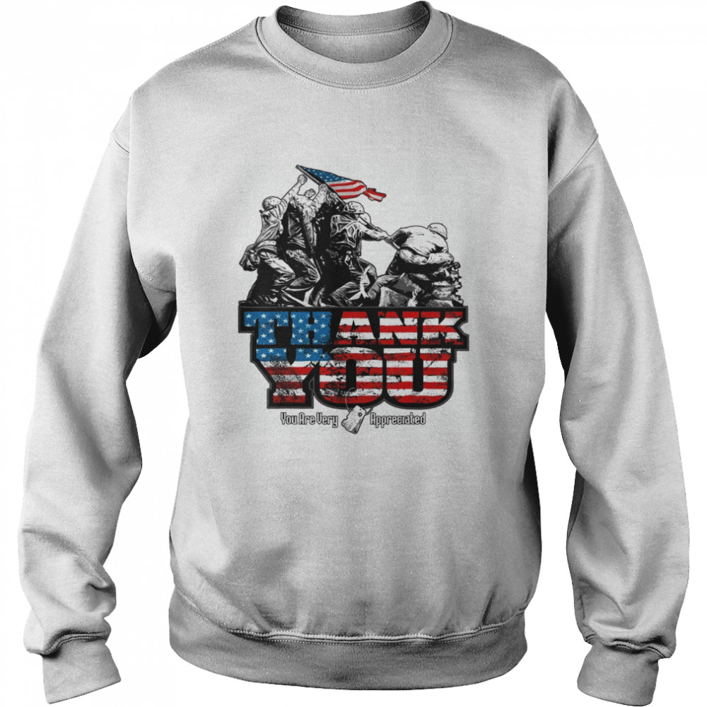 Thank You Veterans you are very appreciated American flag  Unisex Sweatshirt