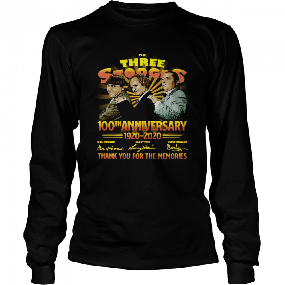 The Three Stooges 100th Anniversary 1920 2020 Signatures  Long Sleeved T-shirt