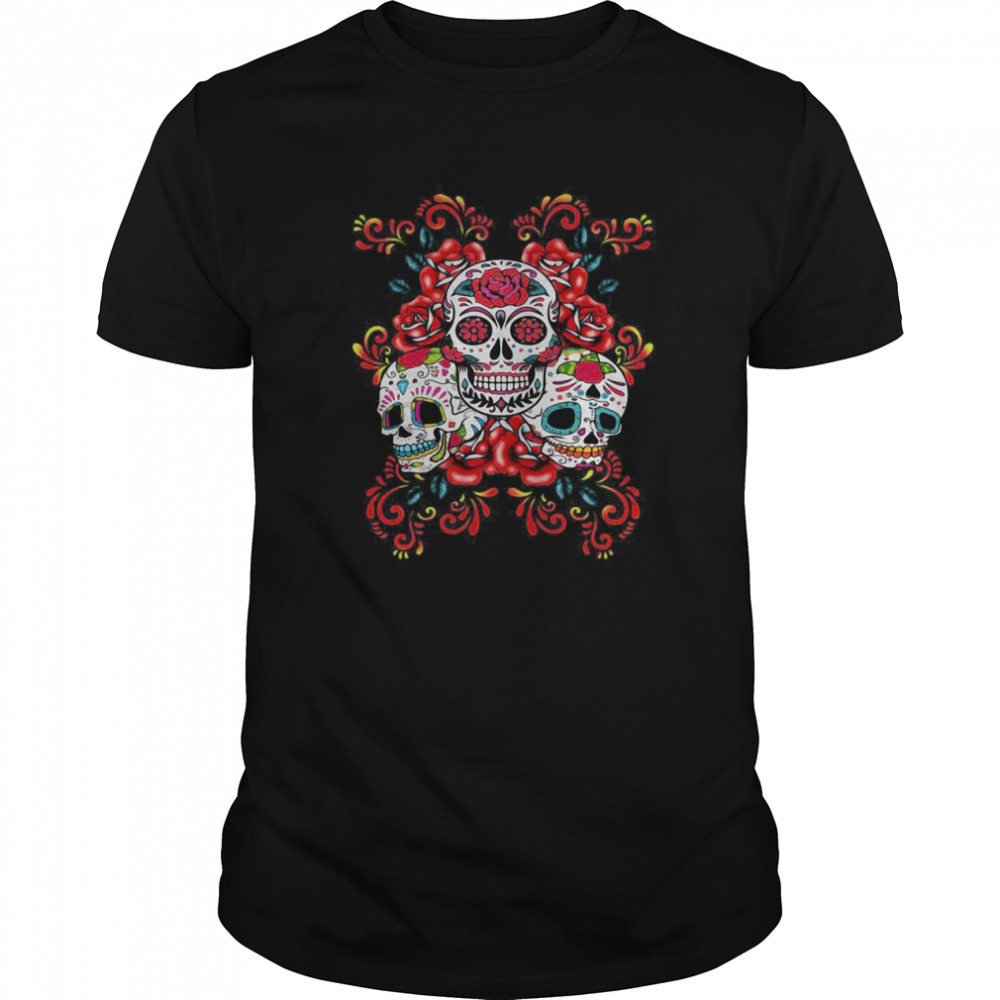 Triple Skull Red Floral Day Of The Dead Sugar Skulls  Classic Men's T-shirt
