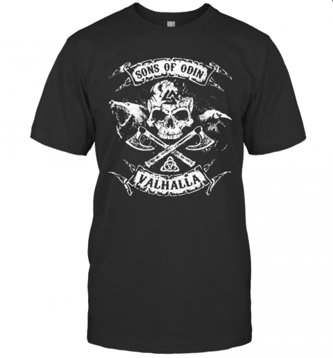 Vikings Skull Sons Of Odin Valhalla T-Shirt Classic Men's T-shirt
