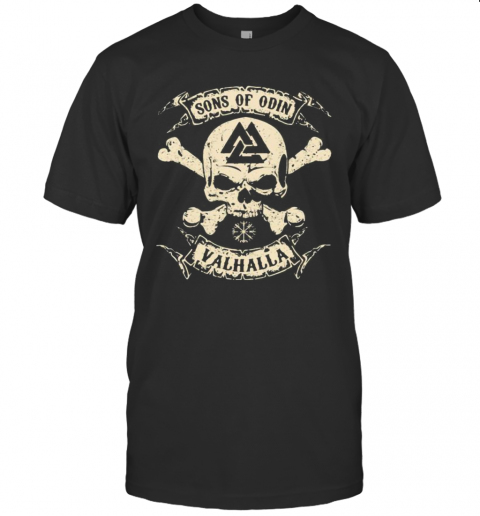 Vikings Skull Sons Of Odin Valhalla Vintage T-Shirt Classic Men's T-shirt