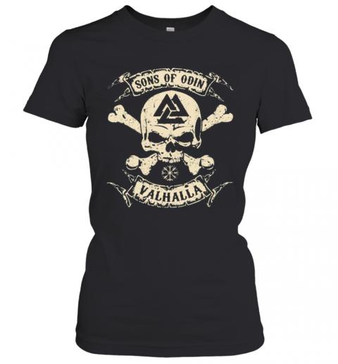 Vikings Skull Sons Of Odin Valhalla Vintage T-Shirt Classic Women's T-shirt