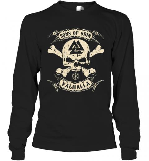 Vikings Skull Sons Of Odin Valhalla Vintage T-Shirt Long Sleeved T-shirt