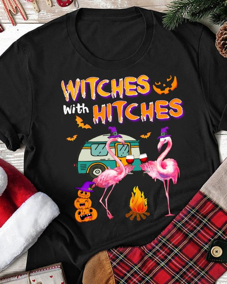 Witches With Hitches Halloween Flamingo Wine Shirt
