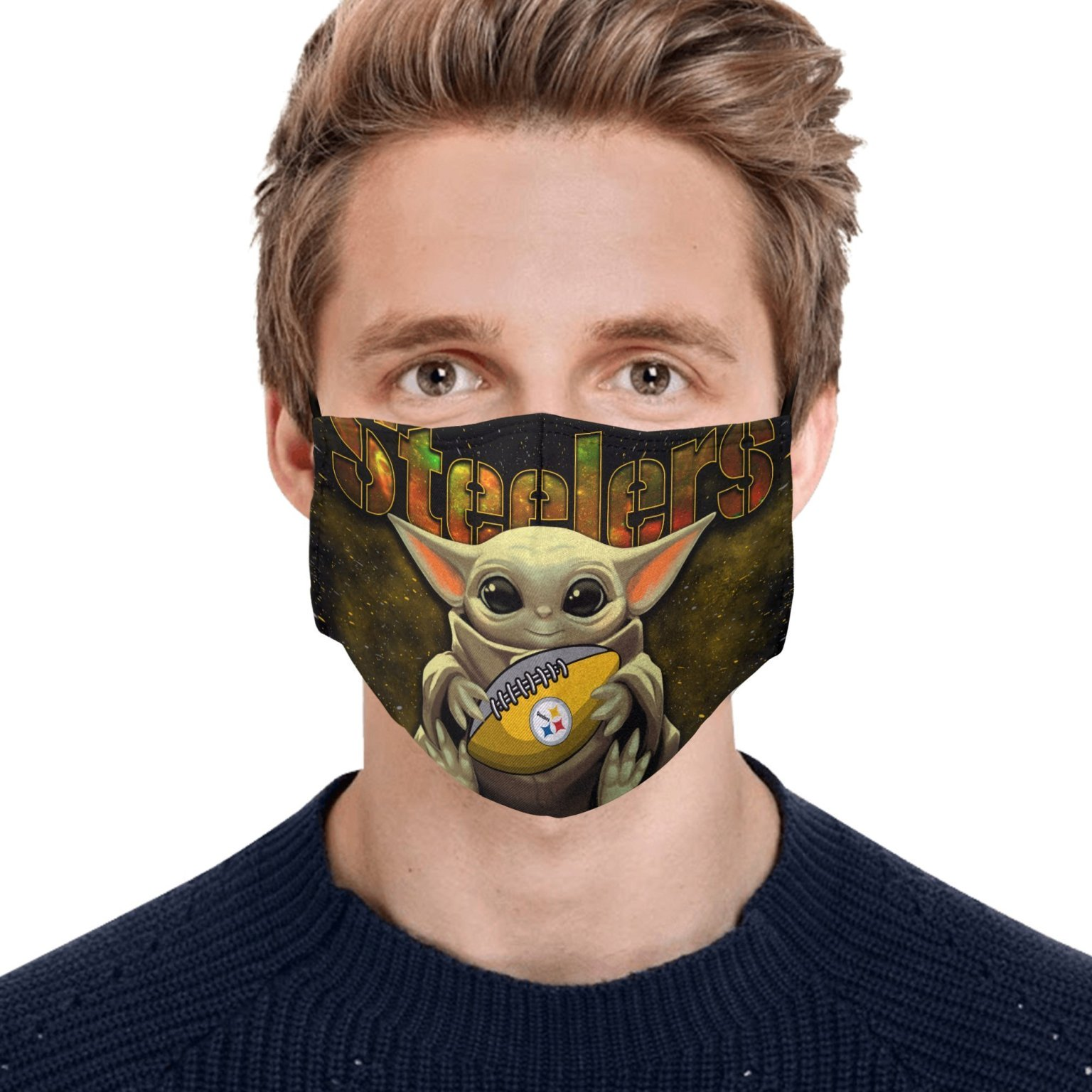 Baby Yoda Hugs Pittsburgh Steelers Face Mask