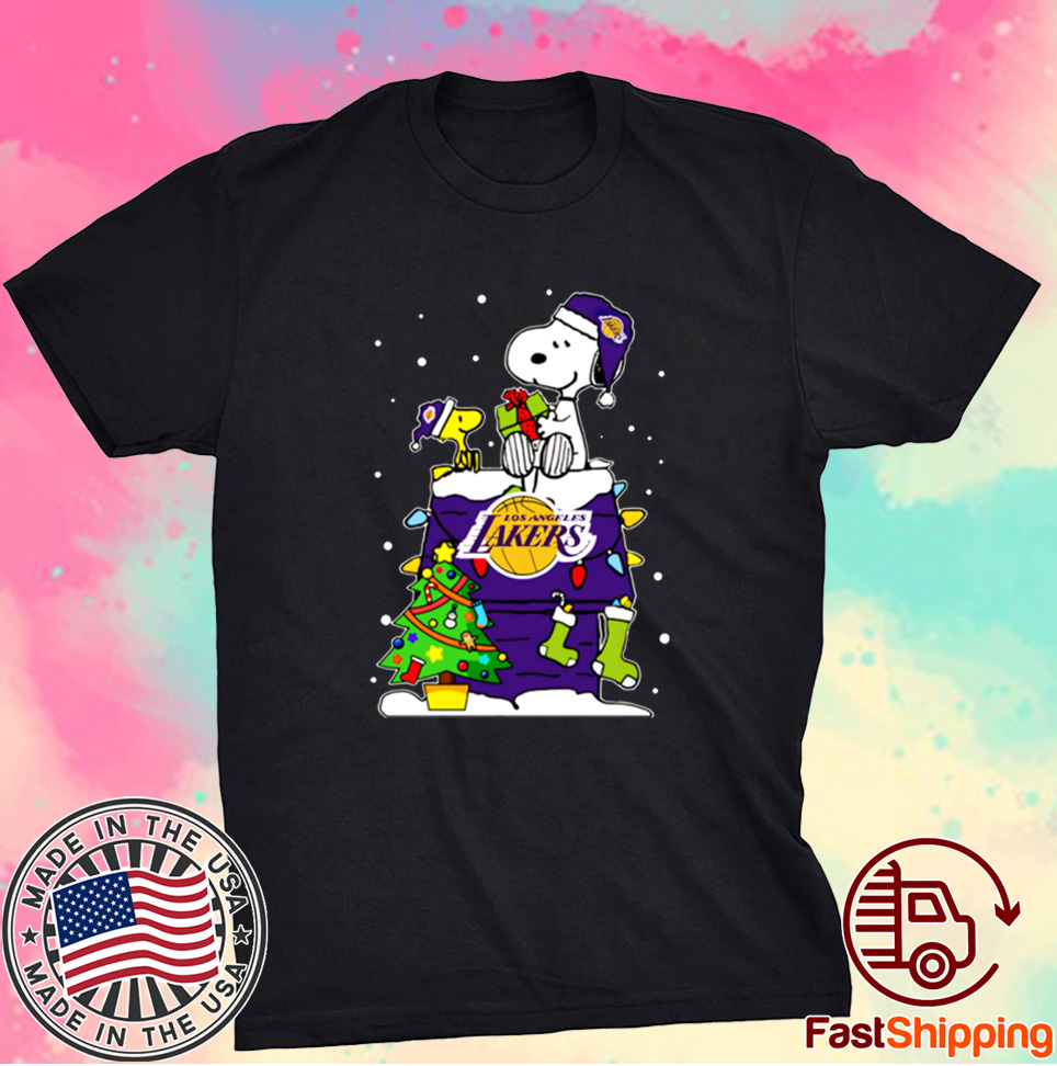 Snoopy Lakers Ugly Christmas Shirt
