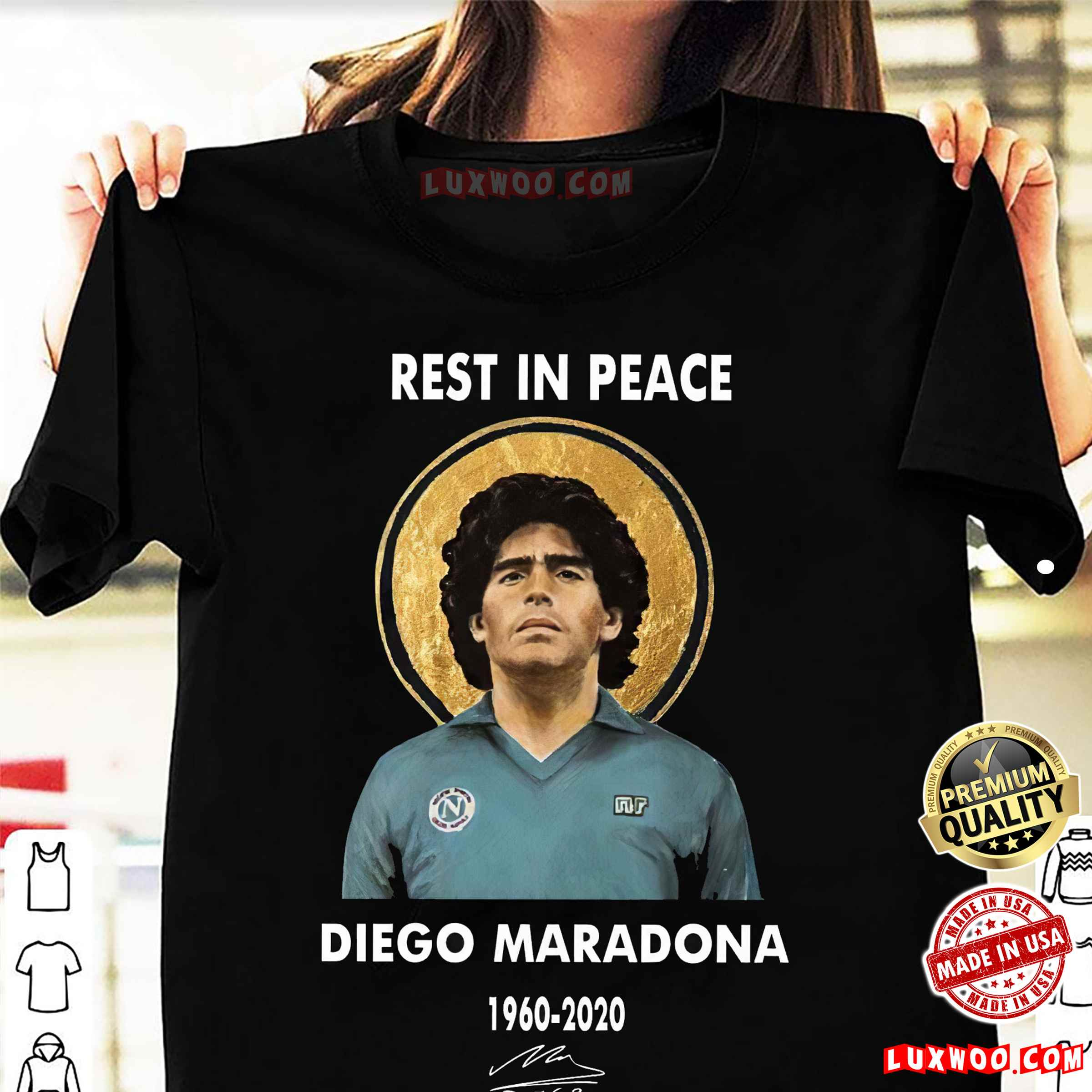 Diego Maradona Napoli T-shirt Rest In Peace 1960-2020 Soccer Legend