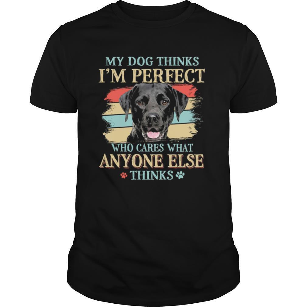 Black Labrador my dog thinks Im perfect who cares what anyone else thinks shirt