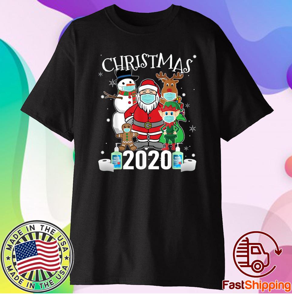 Funny Christmas Santa Claus and Friends Wearing Mask Xmas 2021 TShirt