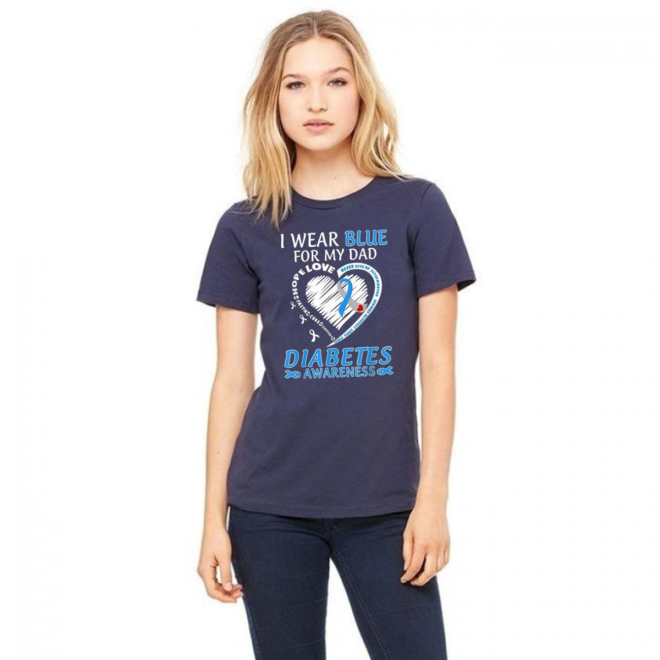 I Wear Blue For My Dad Diabetes Awareness Blue Ribbon Unisex T-Shirt