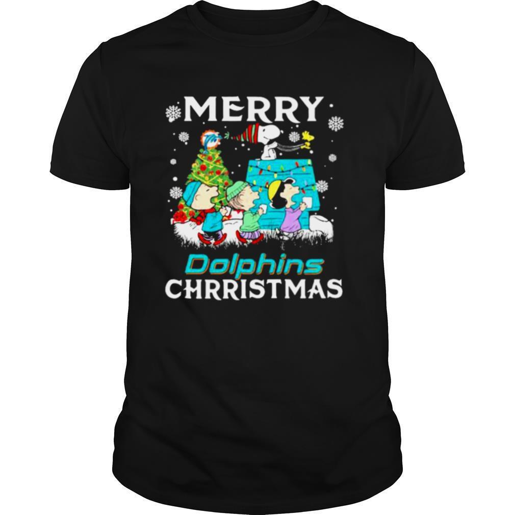 Merry Dolphins Christmas Peanuts Xmas Tree shirt