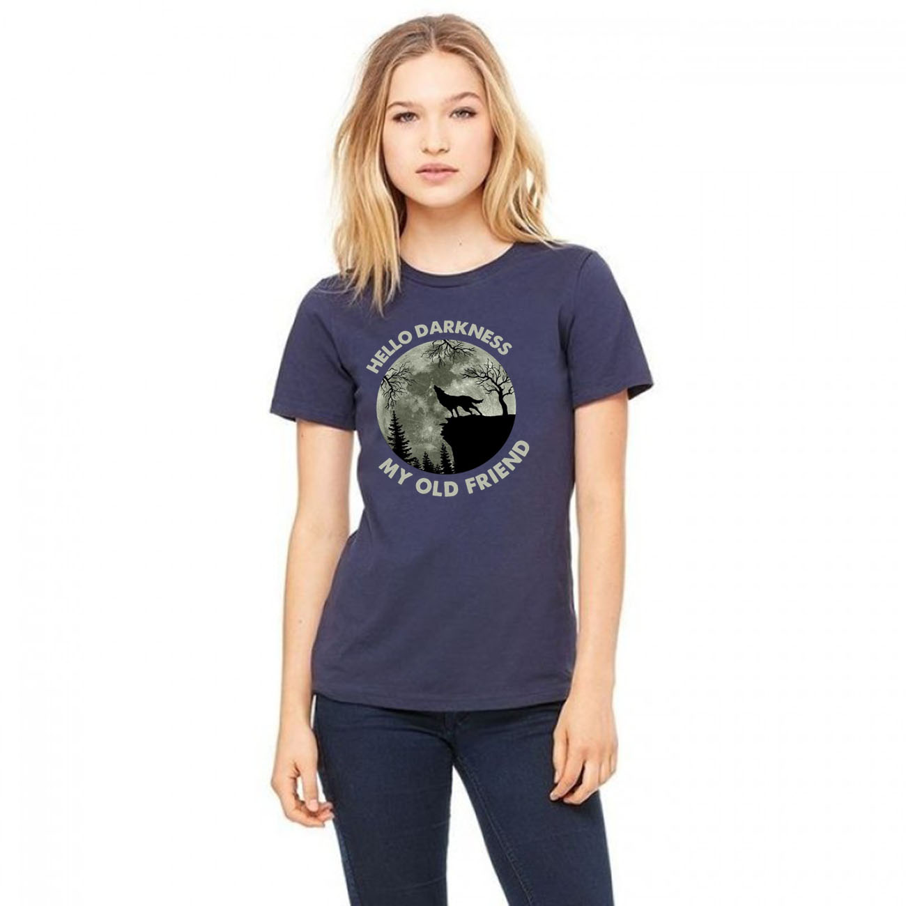 Wolf in the Moon hello darkness my old friend Unisex T-Shirt