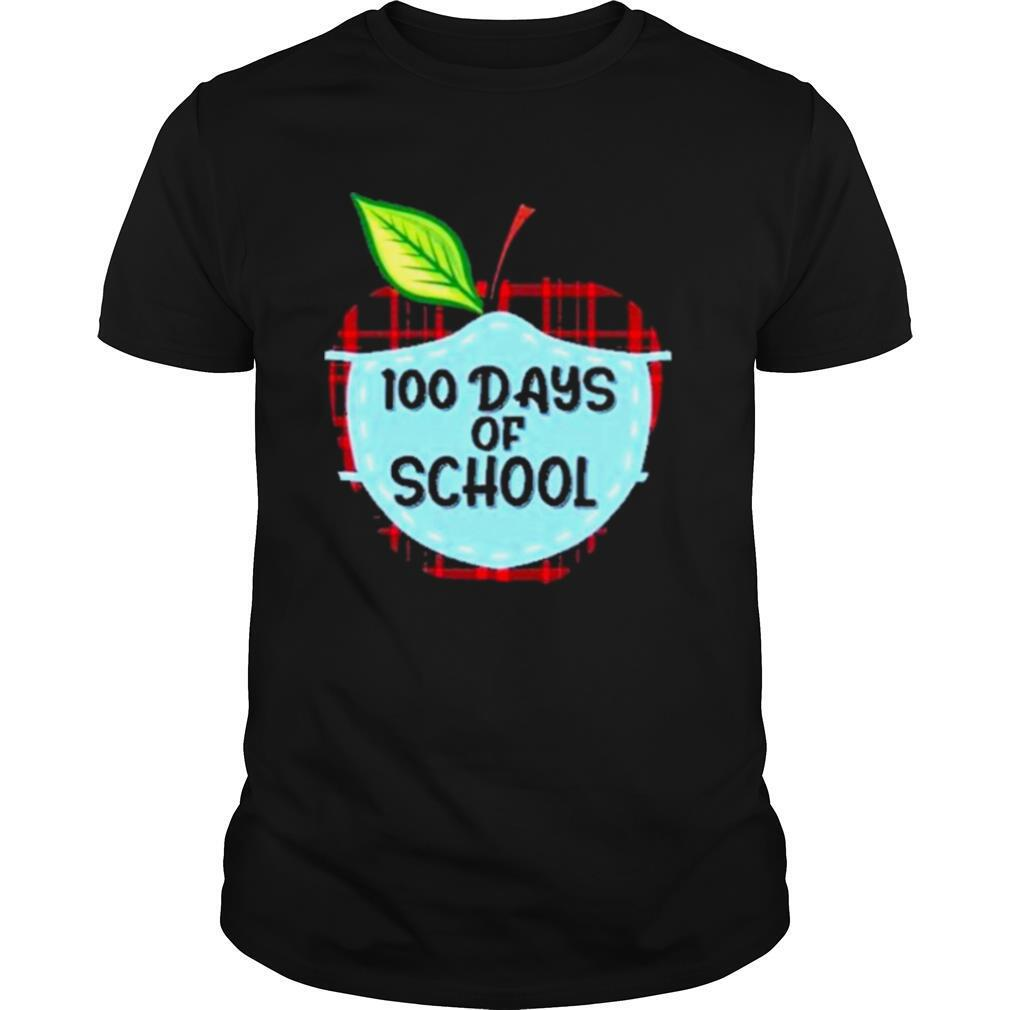 100 days of school apple masked youth shirt