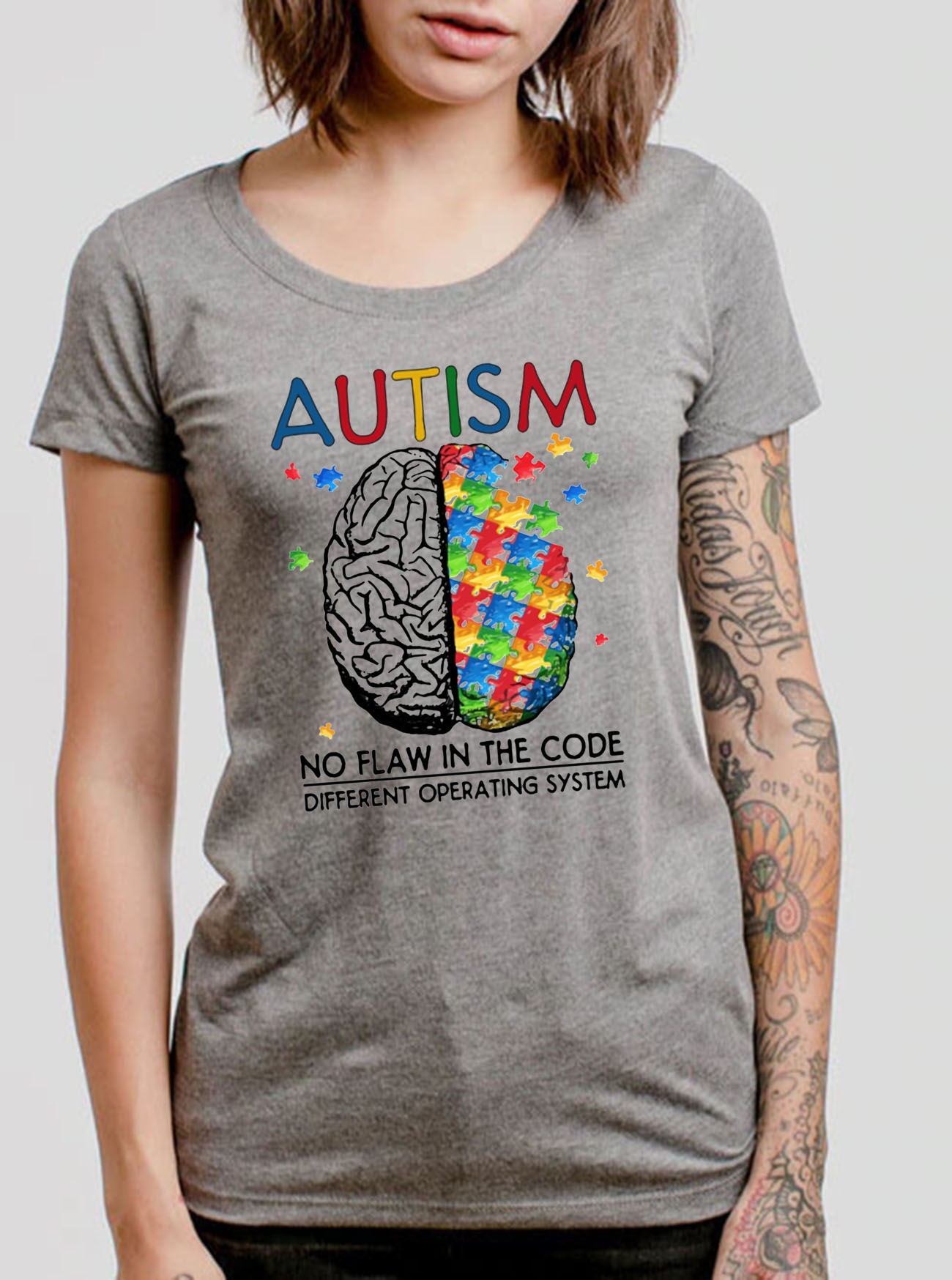 Autism No Flaw In The Code Different Operating System Tee Shirts
