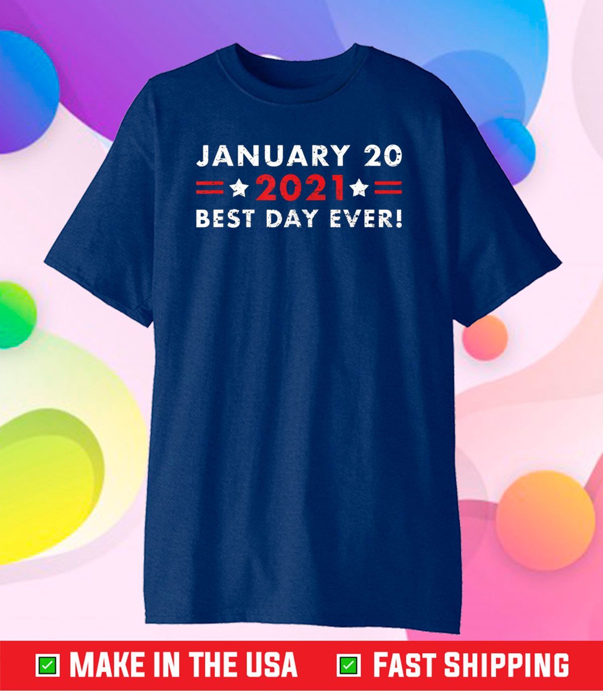 Biden Harris 2021 Inauguration Best Day Ever! Grunge Design Classic T-Shirt
