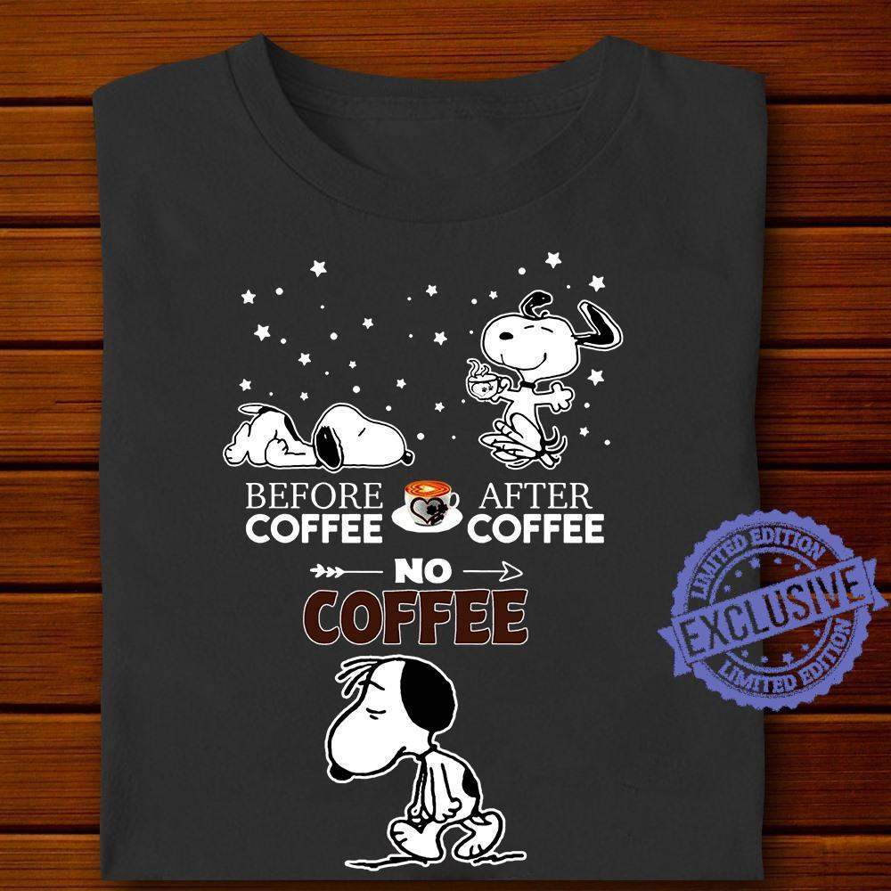 Snoopy Before coffee after coffee no coffee tee shirt