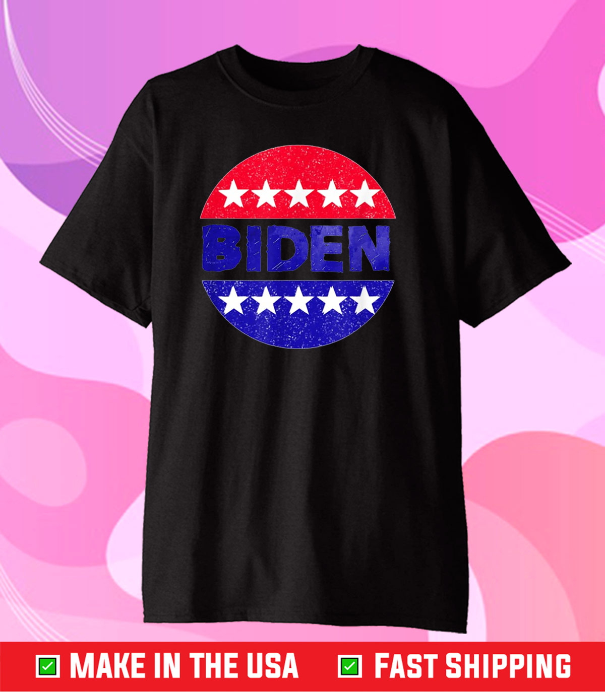 Biden in a Red White and Blue Circle with Stars Design Gift T-Shirt